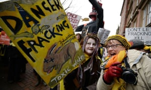 Protesters outside a Lancashire council meeting on fracking