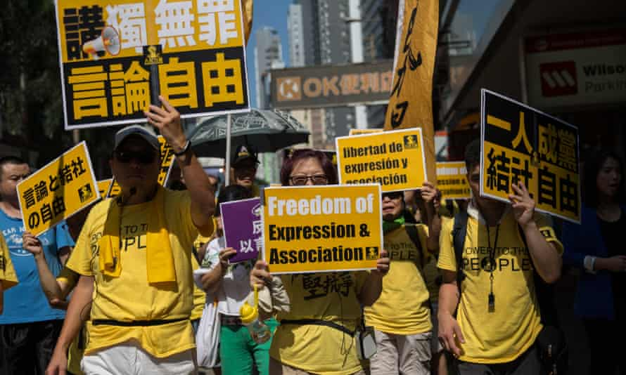 Pro-democracy activists take part in a rally in Hong Kong