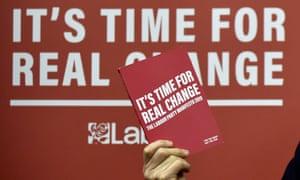 Copy of Labour's manifesto held by leader Jeremy Corbyn