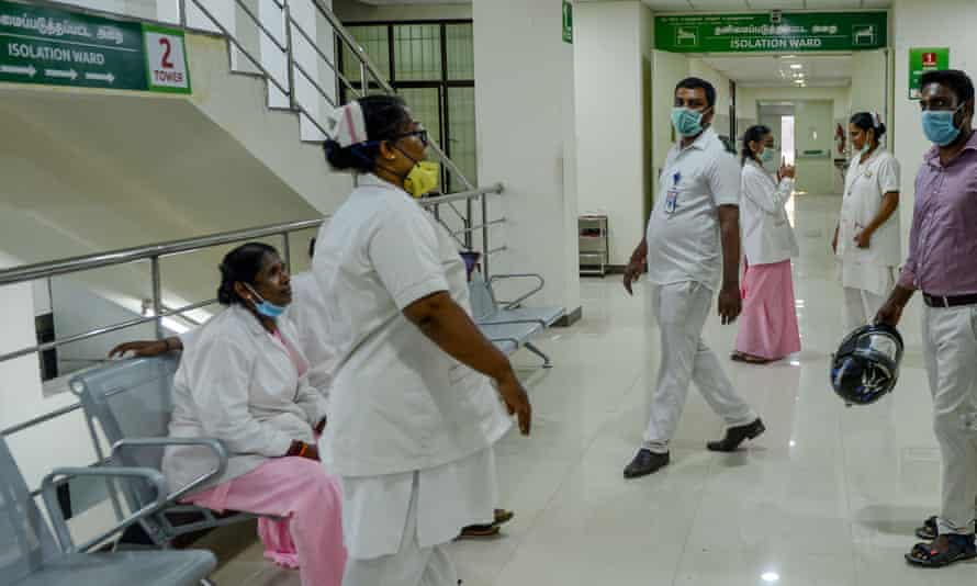 Medical staff in the fever critical ward at a hospital in Chennai.