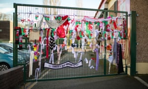 Tributes to Carl Sargeant fixed to a gate at Connah's Quay Labour Club.