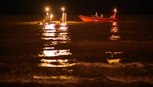 RNLI volunteers on their weekly practice session after nightfall