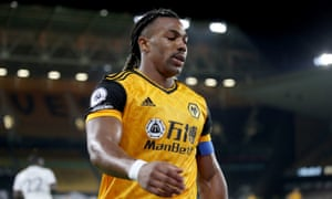 Adama Traoré during Wolves' defeat to Manchester City
