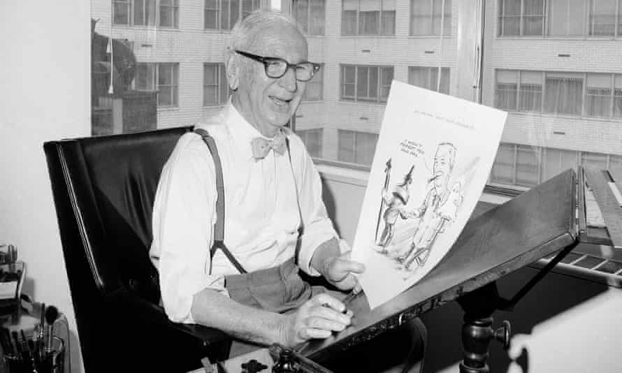 Rube Goldberg, 81, in his New York City apartment, April 24, 1964 after he completed his last cartoon, which showed him bidding goodbye to a cartoonist's pen and ink bottle.