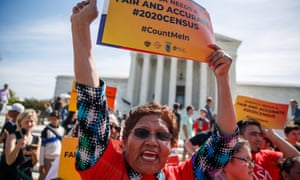 Activists protest against a citizenship question on the 2020 census in front of the supreme court in Washington in April.