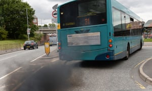 A bus emits heavy smoke emissions in Dunstable