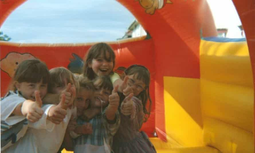 '90s garden parties: Bouncy castle on the garden path when we had endless summers.'