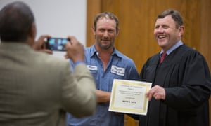 Judge Lowe poses with participant, Wayne Smith
