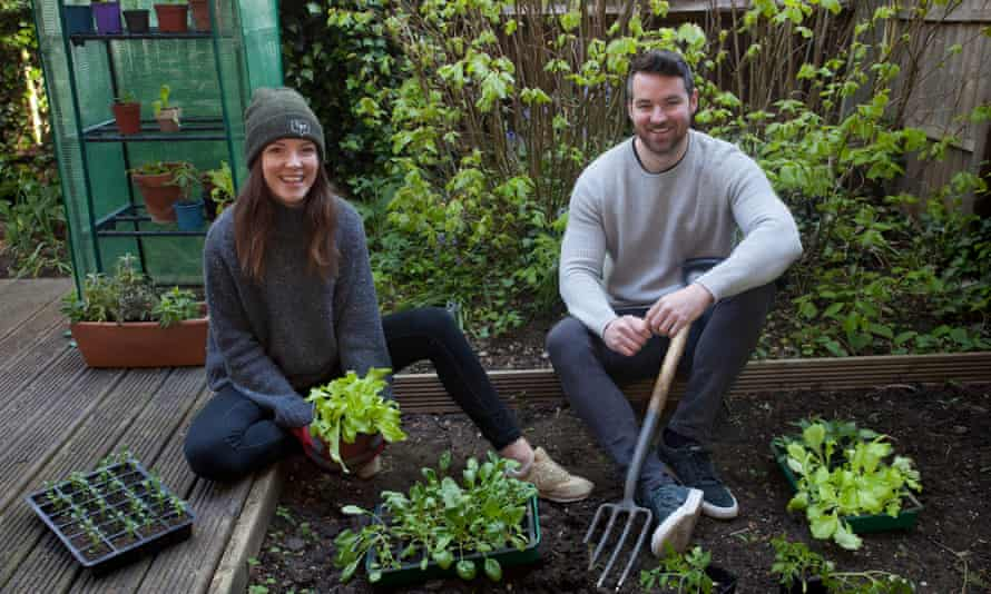 Grow-your-own enthusiast Corrie Rounding in the garden with Conor Gallagher, founder of AllotMe.