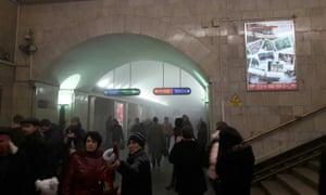People evacuate the station