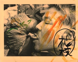 Fukase was fond of printing his own work and would often embellish his images to 'make' a photograph instead of merely 'take' it. This 1992 print is called Berobero, or Sucking, and refers to his habit of licking or sucking people's tongues