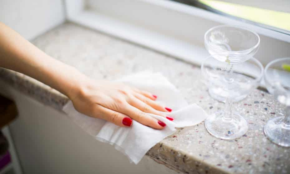 Cleaning with a wet wipe