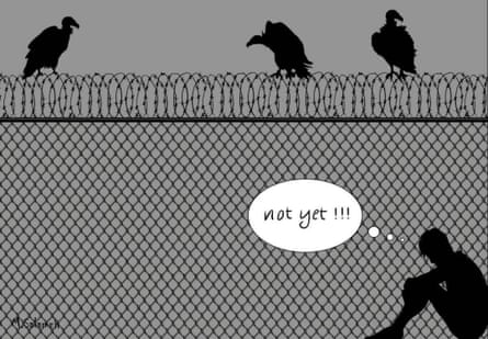 """""""Not yet"""", a cartoon by Palestinian refugee from Syria, Mahmoud Salameh, who was formerly held in Australian immigration detention for 17 months"""
