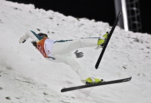 Australia's Lydia Lassila crashes during the women's freestyle skiing aerial qualification.