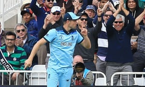 Chris Woakes shushes the crowd after taking his diving catch to dismiss Pakistan's Imam-ul-Haq.