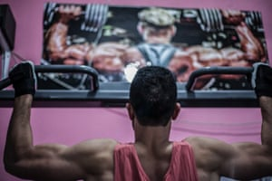 Young man at a gym in Tunis