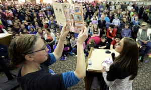 Jessica Herthel reads her book I Am Jazz at a school in Mount Horeb, Wisconsin.