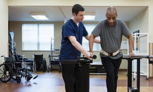 A patient having physical therapy in hospital.