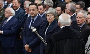 Lyra McKee's funeral in Belfast is attended by, left to right, president of Ireland Michael D Higgins, taoiseach Leo Varadkar and Theresa May.