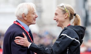 Disley with Paula Radcliffe after the 2015 marathon.