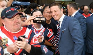 Sam Verrills of the Roosters greets supporters at the NRL Fan Fest event on Thursday