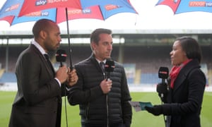 Sky Sports pundits (from left to right) Thierry Henry, Gary Neville and Alex Scott before the Premier League match at Turf Moor, Burnley, on 3 February 2018.