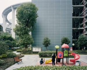 Courtyard of an apartment complex near Caiyuanba Bridge, Chongqing, China, 2017
