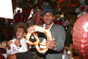 Costa also looks pretty chuffed with the giant pretzels on offer