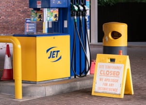 A closed sign on the forecourt of a petrol station in Leeds.