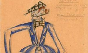 Costume design for Sherlock Holmes by Sergei Eisenstein.