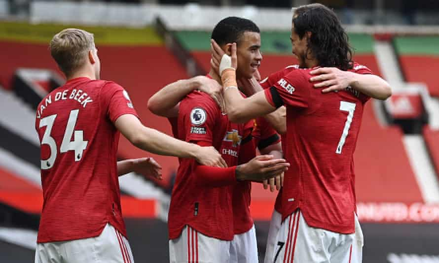 Mason Greenwood celebrates scoring his and Manchester United's second goal as they beat Burnley 3-1