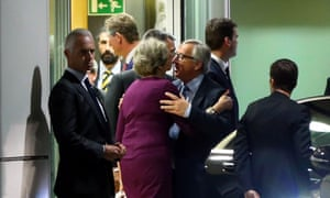 European commission president Jean-Claude Juncker sends off Theresa May and the Brexit minister, David Davis, on Monday.