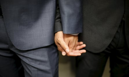 A gay couple prepares to get married at a group wedding for same-sex couples in West Hollywood<br>A gay couple prepares to get married at a group wedding for seven same-sex couples from China, in West Hollywood, California, United States, June 9, 2015. The gay couples were selected as winners of a contest hosted by internet giant Alibaba. China decriminalized homosexuality in 1997, but does not recognize same-sex marriages. REUTERS/Lucy Nicholson