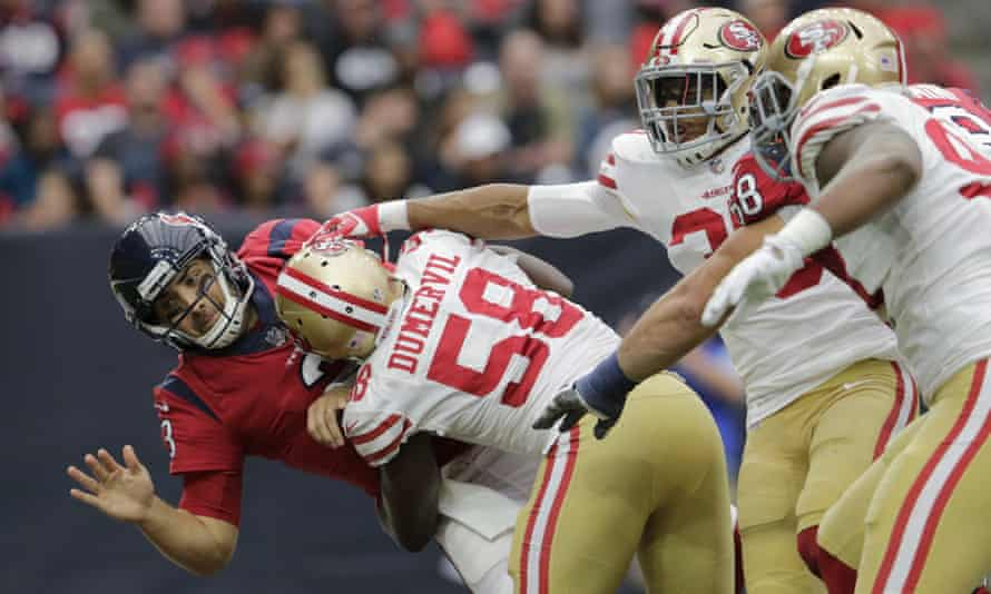 Tom Savage (left) was let back into the game after suffering a concussion against the 49ers last season