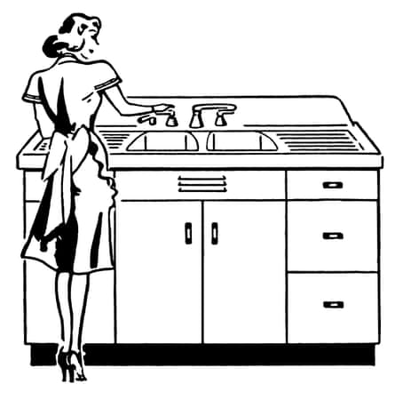 A vintage illustration of a woman washing dishes.