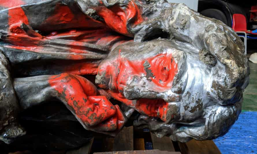 The statue of Edward Colston after it was retrieved from the harbour in Bristol.