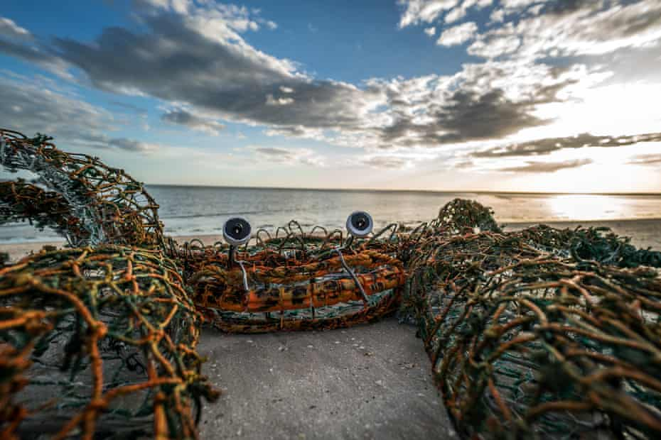 A ghost net sculpture of a crab, made at Pormpuraaw