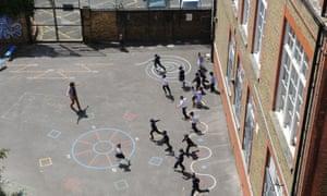 School children playing in a school playground