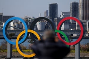 Giant Olympic rings on the waterfront in Tokyo.