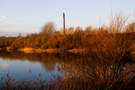 A lonely peaceful autumn landscape with National Life Tower Northampton