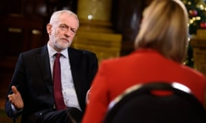 Julie Etchingham interviews Jeremy Corbyn for ITV Tonight.