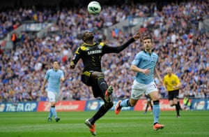 Demba Ba in action for Chelsea in the FA Cup semi-final against Manchester City in 2013.