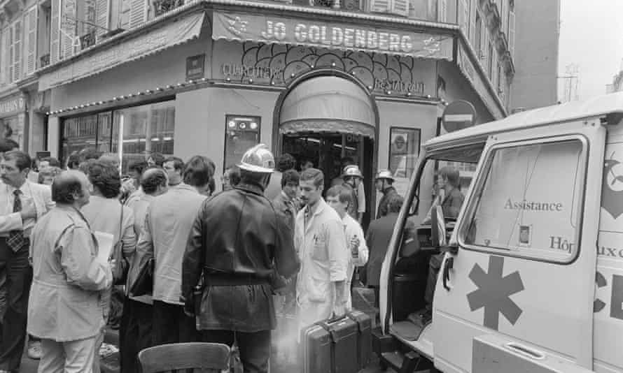 Rescuers give first aid after the 1982 attack at the Jo Goldenberg restaurant in Paris.