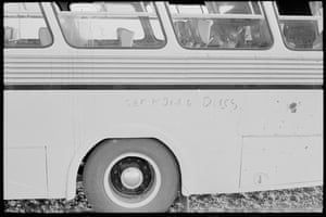 """Graffiti and debris on on the bus. """"I was literally covered in spit,"""" Charles Perkins wrote in his 1975 memoir, A bastard like me."""