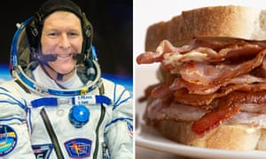 British astronaut Tim Peake enjoyed a bacon sandwich on his arrival at the International Space Station.