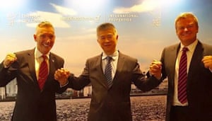Assistant mayor of Liverpool Gary Millar (left) and Peter McInnes (right) with Samson Law of Hong Kong Homes at a promotional event for Asian investors.