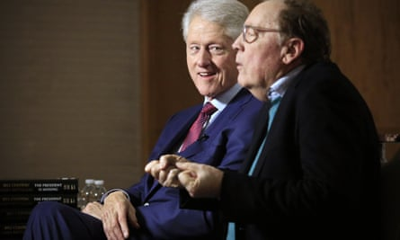 Bill Clinton and James Patterson being interviewed about The President Is Missing in New York.