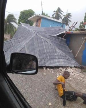 A destroyed house Saint Louis du Sud, southern Haiti.