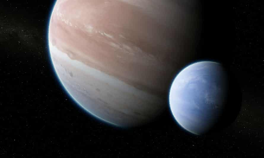 Artist's impression of the exoplanet Kepler-1625b with its suspected moon.