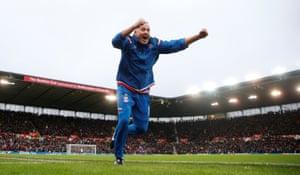 Stoke City manager Paul Lambert celebrates Shaqiri's equaliser.